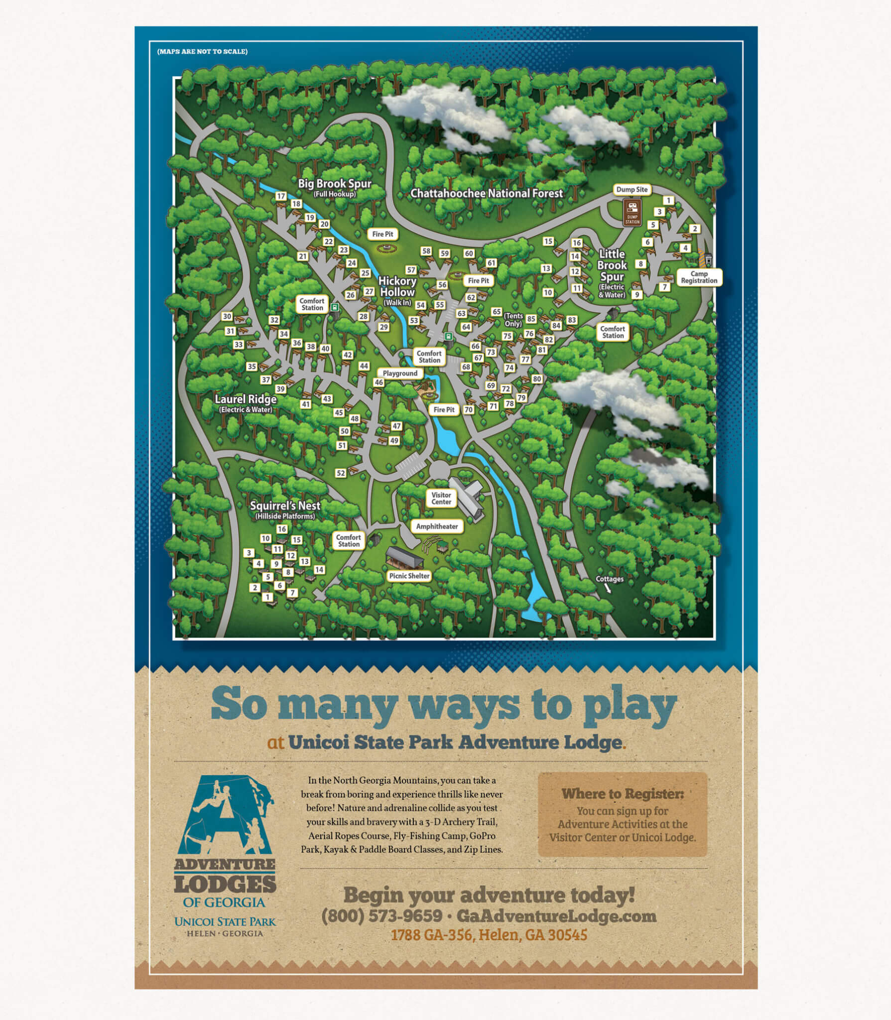 Unicoi Adventure Lodge GA State Park Park Map Back