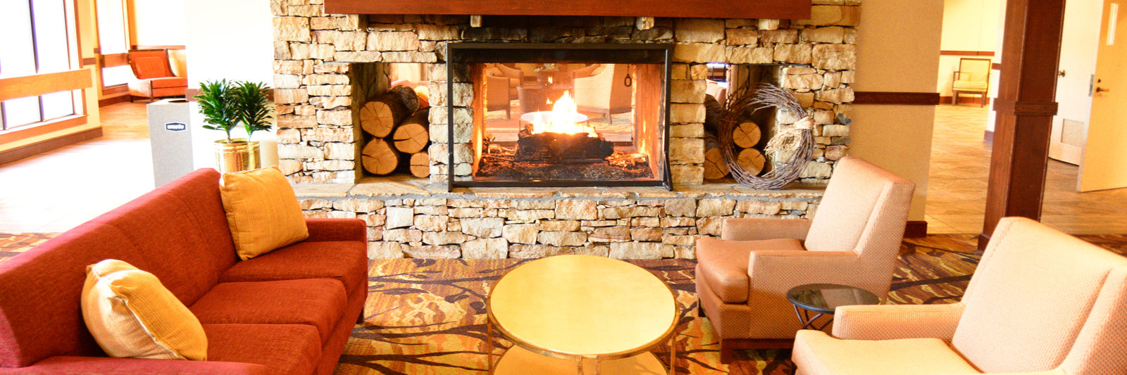 Header Double sided fireplace at Unicoi Lodge